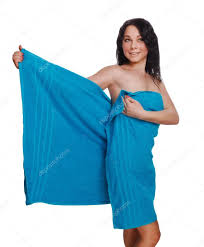 woman brunette slim curly thin blue towel after bath u2014 stock