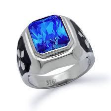 stainless steel rings for men men s stainless steel simulated blue sapphire ring kriskate co