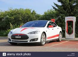 tesla model s charging paimio finland july 24 2016 white and red unique signage