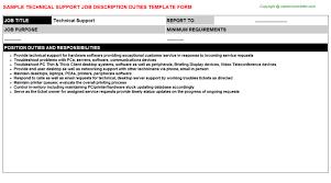 Tech Support Job Description Resume Technical Support Job Title Docs