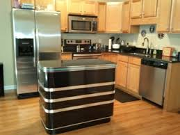 retro kitchen island s kitchen island custom made black and chrome metal edge