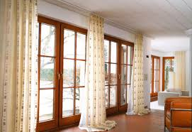 Curtain Ideas For Curved Windows Brown Stained Wooden Large Glass Window Using Cream Flower Pattern