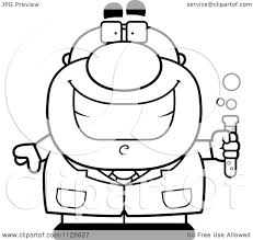 cartoon clipart of an outlined pudgy male scientist holding a test