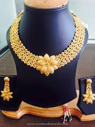gold flower necklace designs images 22k gold floral necklace design south india jewels jpg