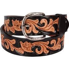 floral belt shop men s j tooled floral black dyed belt