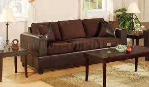 F Chocolote Microfiber Living Room Set By Poundex - Microfiber living room sets