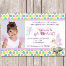 fairy themed photo personalised birthday invitations you print