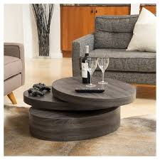 Small Unique Coffee Tables Carson Small Oval Rotatable Coffee Table Black Oak Christopher