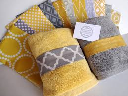 creative grey and yellow bathroom accessories interior decorating