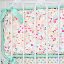 Mini Crib Bumper Pattern by Peach And Mint Mini Floral Baby Bedding Caden Lane