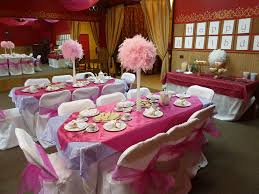 decorations pink table cloth combined by white table anf