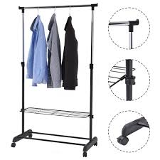 rolling clothes hanger with height adjustable shoe rack closet