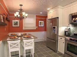 kitchen drum light eat in kitchen island light wood island top gray tiles flooring