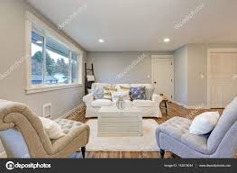 cozy livingroom cozy living room space with soft blue grey walls u2014 stock photo