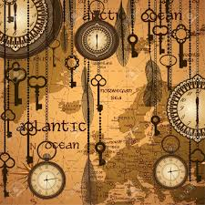 World Time Clock Map by Antique Background With Map And Clocks Royalty Free Cliparts