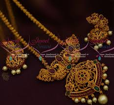 antique necklace chains images Ps11961 matte gold plated imitation jewellery peacock pendant JPG