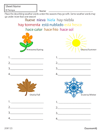 ideas collection spanish weather and seasons worksheets with