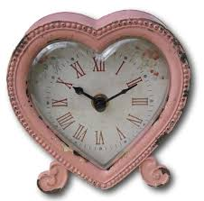 Mantle Piece Clock Shabby Chic Distressed Pastel Pink Heart Shaped Clock Pastel