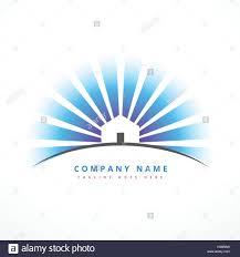 house with sun rays company logo design stock vector