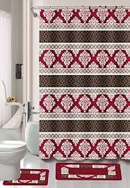 Burgandy Shower Curtain Amazon Com Burgundy Black Red Jane 15 Piece Bathroom Set 2 Rugs