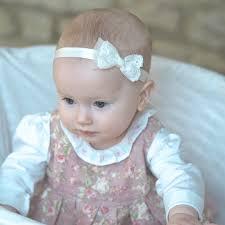 silk headband silk baby christening headband ivory baby bow silk headband