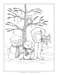 free winter scene coloring page snowman polar bear little