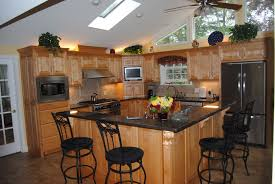 kitchen oak kitchen island with black counter top plus black