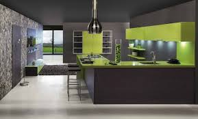 wondrous contemporary kitchen design with dark grey and lime green