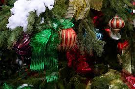 tree ornaments on outdoor tree royalty free stock photo