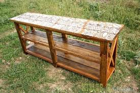 rustic x console table diy 2 4 sofa table reclaimed stenciled rustic x console inspire