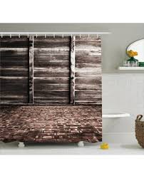 Rustic Shower Curtains Shower Curtain Brick Floor Wooden Wall Print For Bathroom
