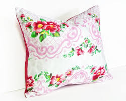 vintage shabby chic throw pillow red flowers on pink and white