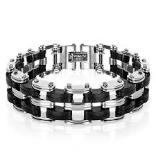 steel chain bracelet images Men 39 s silicone stainless steel chain bracelet george william jpg
