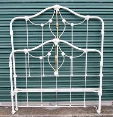 vintage cream metal and brass full size bed frame ebth