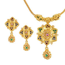yellow necklace set images Sitara 22kt gold necklace set raj jewels jpg