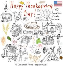 thanksgiving doodles set traditional symbols sketch stock