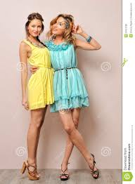 two beautiful women in summer dresses royalty free stock photos