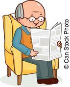Old Man In Rocking Chair Vectors Illustration Of Pensioner In Chair Sitting And Reading