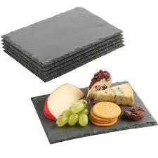 assiettes en bois vonshef set de 6 assiettes rectangles à dessert fromage en ardoise