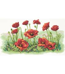 dimensions field of poppies stamped cross stitch kit cross