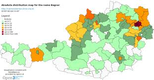 Lima Map Bogner Absolute Spead Map Of The Surname For Austria