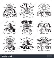indians apache tribes set of vector vintage