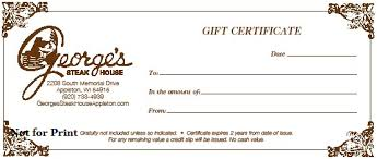 gift certificates georges restaurants gift certificates a gift