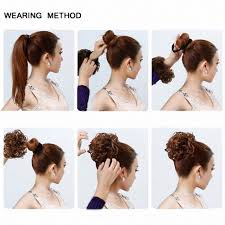 bun scrunchie feshfen wavy hair bun donut hair chignons hairpiece scrunchy