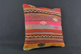 Turkish Home Decor 16x16 Colorful Stripes Kilim Cushion Turkish Kilim Pillow Home