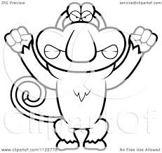 cartoon clipart of an outlined angry proboscis monkey black and