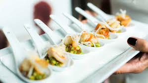 canapes with prawns spicy prawn and avocado with chipotle mayonnaise and crispy vermicelli