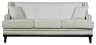 Beige Fabric Sofa Modern Soft Linen Fabric Sofa With Nailhead Trim Details Beige
