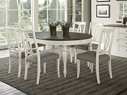 extension dining table and chairs amazon com vegas 7 piece round to oval extension dining table set