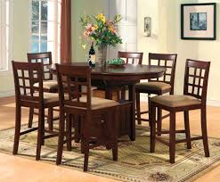 dining room tall dining room table and 4 set chairs made of teak